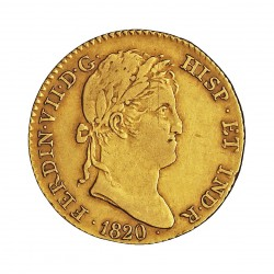 España 2 Escudos. 1820. M-(Madrid). G.J. MBC/MBC+. 6,79gr. AU. Ley:0,875. AC. 1628 - KM. 483.1. Ø21,5mm