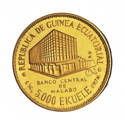 Guinea Ecuatorial 5000 Ekuele. 1978. PRF. 6,96gr. AU. Ley:0,917. KM. 40. Ø22mm