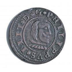 España 16 Maravedis. 1663. Burgos. R. MBC+. 3,9gr. CU. Ley:0,000. AC. 440. Ø25mm