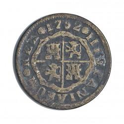 España 1 Reales. 1752. M-(Madrid). JF. MBC+. 2,22gr. CU. Ley:0,000. .El falsificador debia fiar a la suerte el que fuera acept