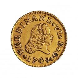 España ½ Escudos. 1749. M-(Madrid). JB. MBC+/EBC-. .Lev.suciedad. 1,69gr. AU. Ley:0,917. CT. 218 - KM. 378. Ø15mm