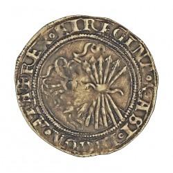 España 1 Reales. 1474. 1504. Sevilla. EBC+. .Muy bonita. 3,3gr. AG. Ley:0,000. AUC. 408. Ø27mm