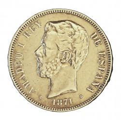 España 5 Ptas. 1871. *18*74. Madrid. DEM. MBC-/MBC. 25gr. AG. Ley:0,900. .Imagen tipo. Misma calidad. HG. 115 - CT. 7. Ø37mm