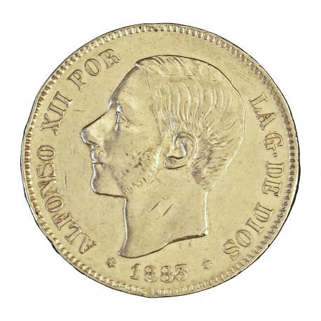 España 5 Ptas. 1883. *18*8-. Madrid. MSM. MBC+. Golpecito en listel.Muy bonita). 25gr. AG. Ley:0,900. KM. 688 - AUC. 55. Ø37mm