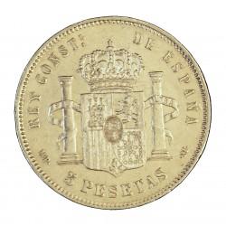 España 5 Ptas. 1885. *-8*87. Madrid. MPM. MBC/MBC+. -Insig.cpcto.cto.. Bonito-. 25gr. AG. Ley:0,900. AUC. 63 - KM. 688. Ø37mm