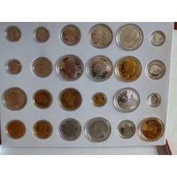 España Medalla. 1870. 1966. PRF. 560gr. AG. Ley:0,000. .24 reproducciones de monedas españolas de Plata y Oro desde 1870 a 1966